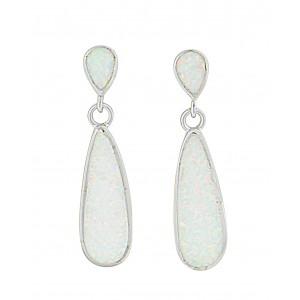 Elongated Teardrop Opal Silver Stud Earrings   The Opal