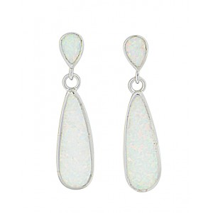 Elongated Teardrop Opal Silver Stud Earrings