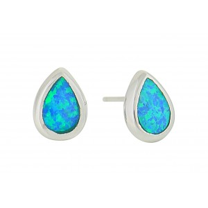 Small Teardrop Silver Earrings - Blue Opal | The Opal