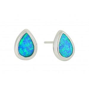 Small Teardrop Silver Earrings - Blue Opal   The Opal