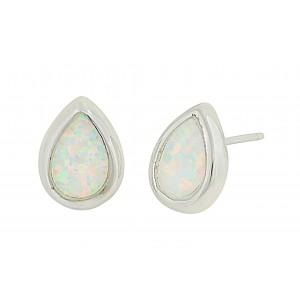 Small Teardrop Silver Earrings - White Opal   The Opal