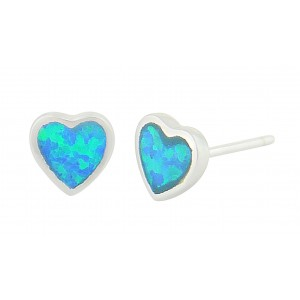 Mini Heart Blue Opal Stud Earrings | The Opal