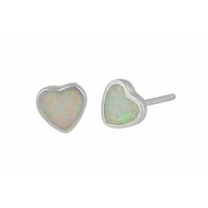 Mini Heart White Opal Stud Earrings | The Opal