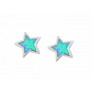 Small Star Blue Opal Silver Stud Earrings