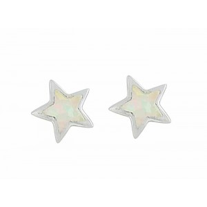 Small Star White Opal Silver Stud Earrings