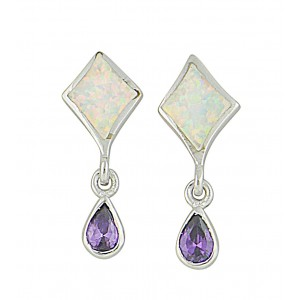 Amethyst and Opal Silver Stud Earrings | The Opal