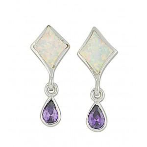 Amethyst and Opal Silver Stud Earrings   The Opal