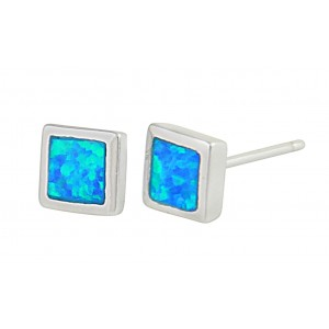 Small Square Blue Opal Stud Earrings | The Opal