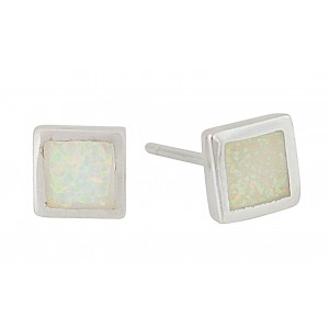 Small Square White Opal Stud Earrings   The Opal