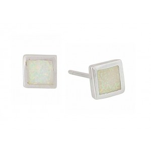 Small Square White Opal Stud Earrings | The Opal