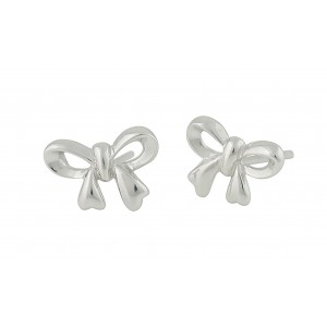 Knotted Bow Silver Stud Earrings | The Opal