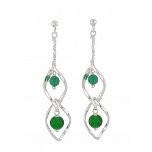 Green Onyx Silver Dangly Earrings