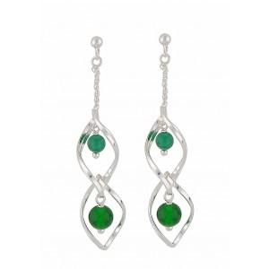 Green Onyx Silver Dangly Earrings