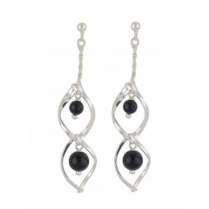Black Onyx Silver Dangly Earrings