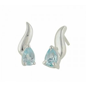 Blue Topaz Teardrop Small Stud Earrings