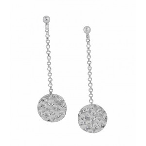 Hammered Disc on a Silver Chain Stud Earrings | The Opal Jewellery