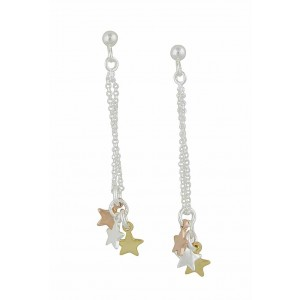 Three Tone Silver Star Long Drop Earrings