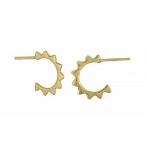 Spike Curve Half Hoop Silver Earrings