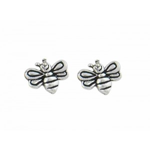 Silver Bee Stud Earrings - 7mm