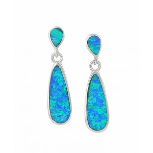 Elongated Teardrop Blue Lab Opal Stud Earrings