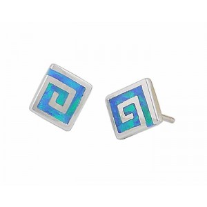 Blue Opal Square Silver Stud Earrings - 8mm