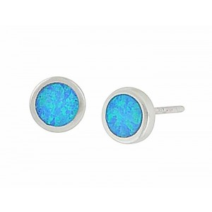 Blue Opal Disc Small Silver Stud Earrings - 6mm
