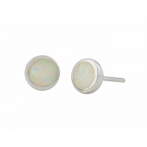 White Opal Small Disc Silver Stud Earrings - 7mm