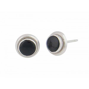 Black Onyx Circle Stud Earrings - 9mm