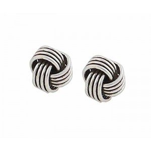 7mm Silver Knot Stud Earrings