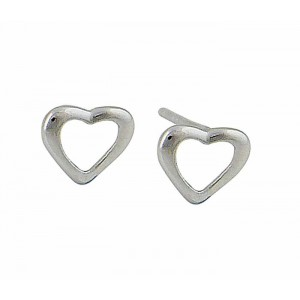 Open Heart Silver Studs - 7mm