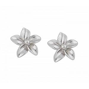 Silver Plumeria Flower Studs