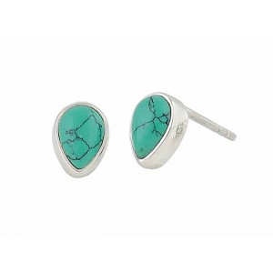 Turquoise Teardrop Small Silver Stud Earrings 8mm