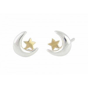 Moon and Gold Plated Start Stud Earrings