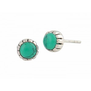 7mm Turquoise Circle Stud Earrings