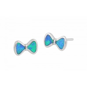 Small Bow Stud Earrings - Blue Lab Opal