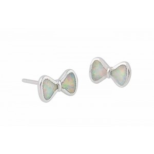 Small Bow Stud Earrings - White Lab Opal