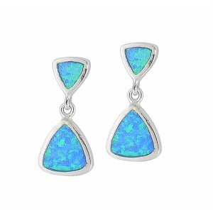 Geometry Design Blue Lab Opal Stud Earrings