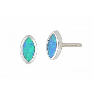 Blue Opal Marquise Stud Earrings