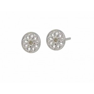 7mm Silver Flower Stud Earrings