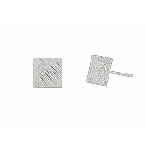 Textured Design Square Silver Stud Earrings
