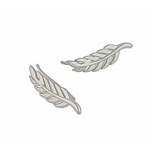 Silver Feather Ear Climbers