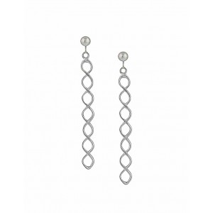 Simple Twist Long Silver Earrings