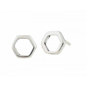 Open Hexagon Silver Stud Earrings