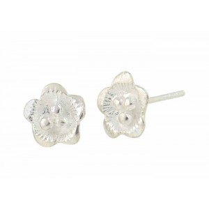Flower Small Silver Stud Earrings