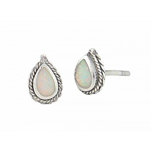 White Opal Teardrop Rope Edge Silver Stud Earrings