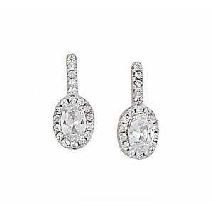 Sterling Silver Cubic Zirconia Oval Stud Earrings