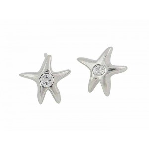 Silver Starfish and Cubic Zirconia Stud Earrings
