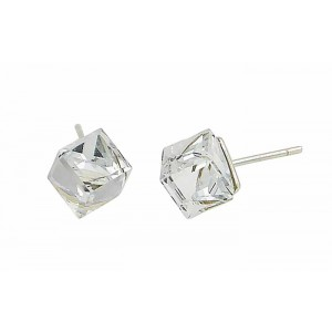Clear Cube Swarovski Crystal Silver Earrings