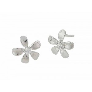 Flower and Cubic Zirconia Silver Earrings