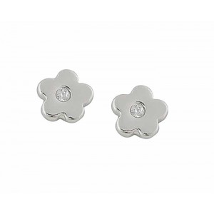 Small Flower and Cubic Zirconia Silver Earrings